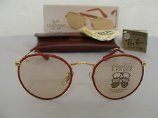New Vintage B&L Ray Ban Round Metal Leathers Med Brown Changeable W0779 NOS