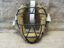 Vintage Metal Wire & Leather Baseball Catchers Mask   Antique Old Ball 7881