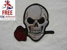 Skull and Rose Iron-on/sew-on Embroidered Patch Motorcycle Biker Punk Rock