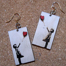 BANKSY FLOATING AWAY Green Tree Jewelry NATURAL laser-cut wood earrings 1511