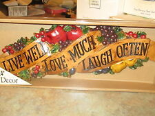 LIVE WELL LOVE MUCH LAUGH OFTEN WALL DECOR KITCHEN FRUIT NEW GRAPES APPLES NEW!