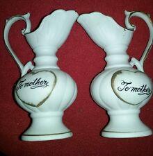 """Vintage Brinn's Porcelain To Mother 6"""" Pitcher Vase Set of 2"""