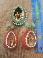 Vintage Christmas Handmade Egg Diorama Angel Ornaments Velvet Beaded