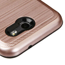 SAMSUNG GALAXY J3 EMERGE 2017 ROSE GOLD BRUSHED RUGGED CASE CARBON ACCENT COVER