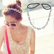 Women Girls New Fashion Elastic Metal Rhinestone Head Chain Headband Hair Band