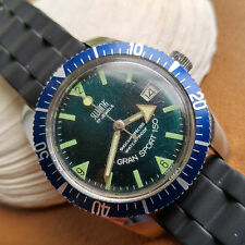 Vintage Swank Divers Watch w/Pristine Emerald Green Dial,Blue Bezel FOR REPAIR