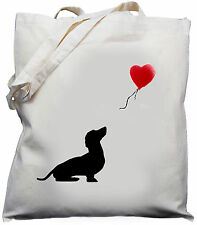 Dachshund Dog balloon Gift  Natural Cotton Shoulder Bag 100% Cotton Tote Bag