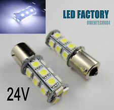 2X 1156 BA15s P21W R5W S25 18 SMD LED Car Turn signal Tail Light Bulbs White 24V