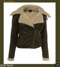 Topshop Brown Sheepskin Shearling Faux Leather Aviator Biker Jacket Coat 16 44 L
