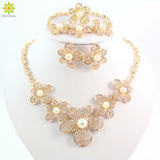 Fashion Pearl Jewelry Sets Dubai Gold Plated African Bridal Necklace Earring Set