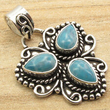 LARIMAR 3 Gems Pendant, 925 Sterling Silver Plated Traditional Handmade Jewelry
