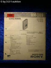 Sony Service Manual WM 509 Cassette Player (#0680)