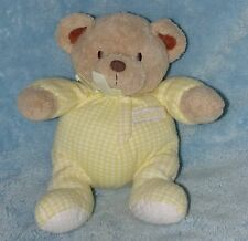 Carters Plush Teddy Bear Rattle Yellow White Gingham Check Sleeper Baby Toy
