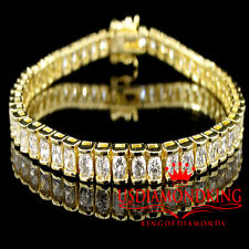 WOMENS LADIES NEW 14K YELLOW GOLD FINISH 1 ROW ROUND CHANNEL SET TENNIS BRACELET