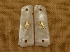 1911 White Pearl Grips With Gold Colt Rampart Fit  any 1911 Full size Frame