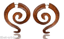 Tibetan Tribal Boho Handmade Wood Antique Wooden Fake Gauge Earring WER140