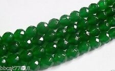 AAA+++ 6mm Faceted Natural Green Emerald Loose Beads Gemstone 15""
