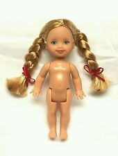 Barbie Sister Kelly doll Blonde Braided Hair Red Ribbons Blue eyes Nude New