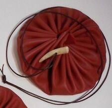 "6"" Handmade Red Circle Drawstring Leather Pouch Purse Bag Italian Tanned Hide"