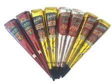 Natural + Black + Cherry Red + Brown Henna Cones Temporary Tattoo Golecha Kit