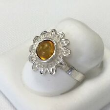 Gorgeous authentic Amber and sterling silver Ring from Poland Size 7