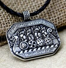 Antique Silver Plt Viking Longboat Rune Pendant Necklace Ladies Mens Gift Norse