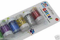 6 GLITTER SHAKERS POTS ART & CRAFT CHILDRENS KIDS CREATE HOME CARDS DECORATION