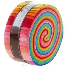 Robert Kaufman Kona Cotton Solids New Bright Palette Jelly Roll Up, Set of 41