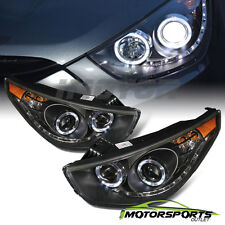 [LED Halo]For 2010 2011 2012 2013 Hyundai Tucson LED Projector Black Headlights