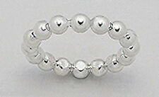4mm Wide Solid Sterling Silver Little Ball Beads Band Ring Size 8 Wedding