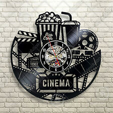 Classic Hollywood Vinyl Sign, Home Cinema, Movie,Camera, Den Decor Vinyl Clock