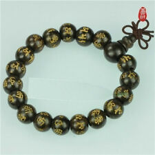 Long Tibet 17 12mm Black Sandalwood Carved OM Mani Prayer Beads Mala Bracelet