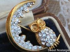 CHARMING DESIGNER ATTWOOD AND SAWYER (A&S) OWL AND CRESCENT MOON DIAMANTE BROOCH