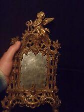"""antique National Brass & Iron brass over cast iron Cherub easel back 13"""" X 8"""""""