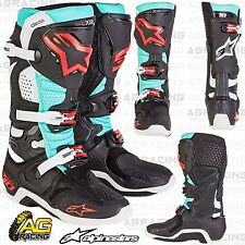 Alpinestars Tech 10 Black Torquoise Red Boots Size US 10 UK 9 EU 44.5 Motocross