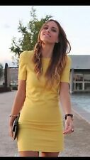 ZARA YELLOW DRESS WITH SHOULDER PADS Short SLEEVES Medium M
