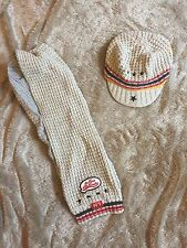 Catamini Knitted Scarf & Hat Age 4 T4 T1 Little Boy Cream Yellow Red Black Star