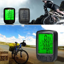 Bicycle Wired LCD PC Odometer Speedometer Waterproof + Green Backlight OE