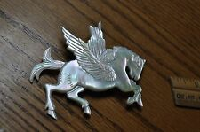 genuine mother of pearl vintage pin signed with diamond eye Pegasus horse