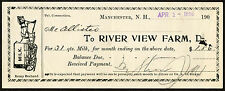 1906 Receipt 31 Quarts of Milk, River View Farm, Milk Wagon, Manchester NH