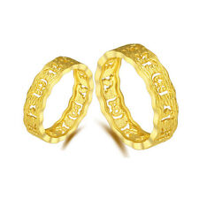 New Pure 24k Yellow Gold Ring Lucky Hollow Six-word Mantra Wedding Ring 1 piece