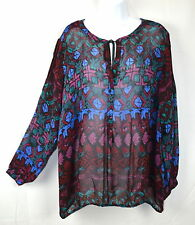 Lucky Brand Women's 3X Wine Color Print Tie Neck Peasant Top Blouse Shirt Tunic