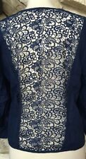NWT Chico's Blue Linen Lace Back 3/4 Sleeve Open Front Jacket Chicos 2 = 12 14