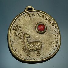 Antique Brass Medal Pendant Agnus Dei Holy Eucharist - Congress Munich