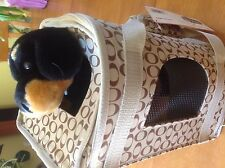 Pet Carrier with Animal Toy Dog Rottweiler Best Friends