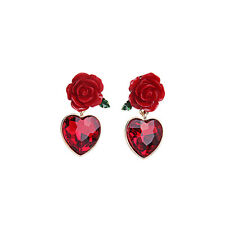Romantic Love Red Crystals Heart Flower Pin Earrings