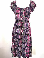 AXCESS BY LIZ CLAIBORNE WOMENS LADIES LINED BLACK PINK & PURPLE SPRING DRESS ~ M