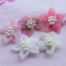 Upick 10/20/100pcs Organza Ribbon Flowers handicraft W/Pearl wedding decoration