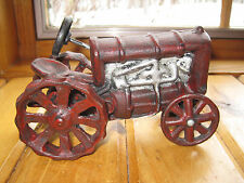 Vintage Heavy CAST IRON Red Toy FARM TRACTOR