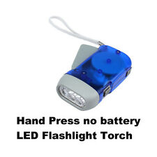 No Battery 3 LED Hand Press Crank Squeeze Powered Dynamo Flashlight Torch Light